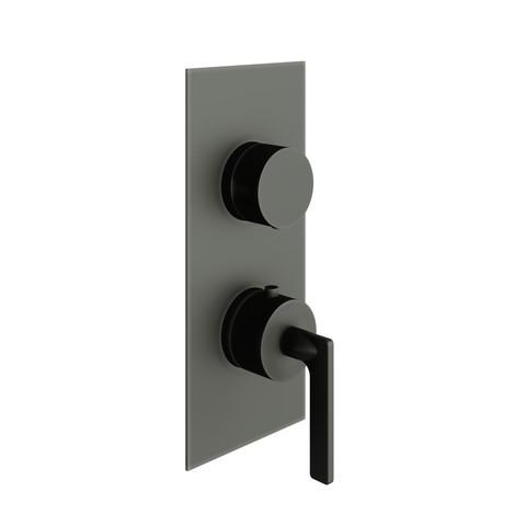 vtwonen Baden Grip 2weg douchethermostaat met inbouwdeel black steel