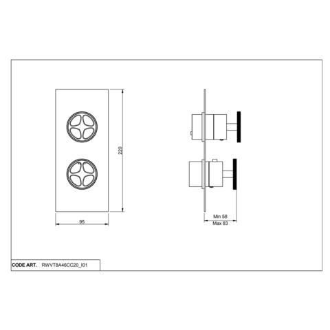 vtwonen Baden Flame 2weg douchethermostaat met inbouwdeel black steel
