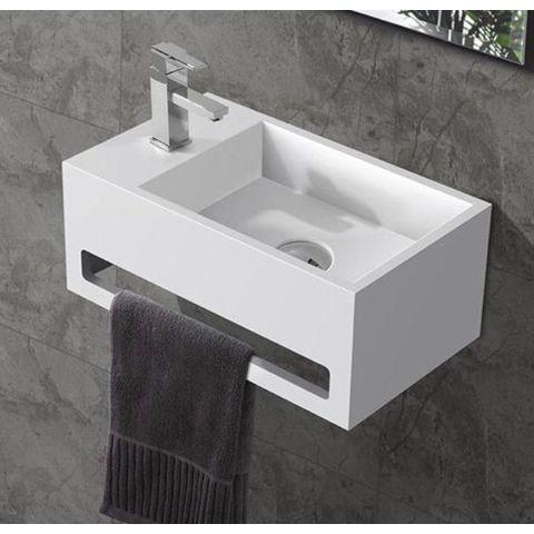 Bewonen Alento fontein Solid Surface met handdoekhouder mat wit- kraangat links