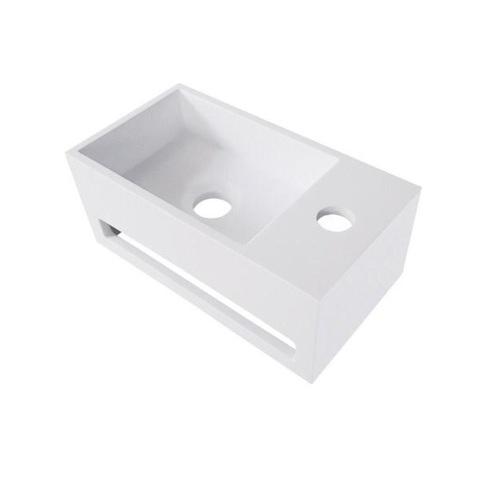 Bewonen Alento fontein Solid Surface met handdoekhouder mat wit- kraangat rechts