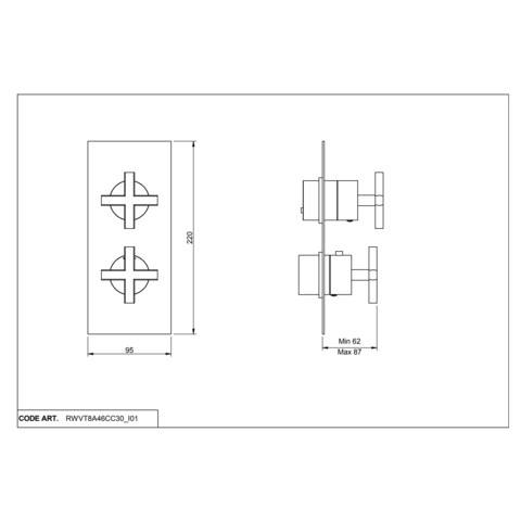 Vtwonen Baden Cross 2weg douchethermostaat met inbouwdeel black steel