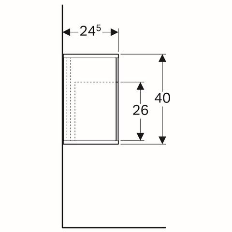 Geberit Icon zijelement met opbergbox 37x24,5x40cm rechts eiken naturel