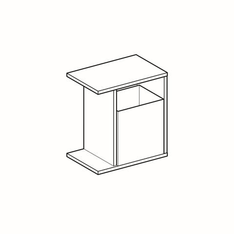 Geberit Icon zijelement met opbergbox 37x24,5x40cm rechts platina
