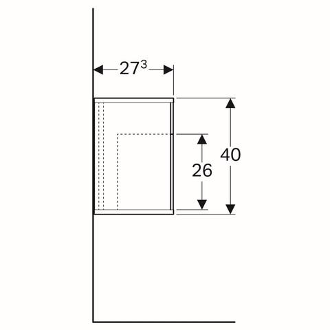 Geberit Icon zijelement met opbergbox 37x27,3x40cm links glans wit