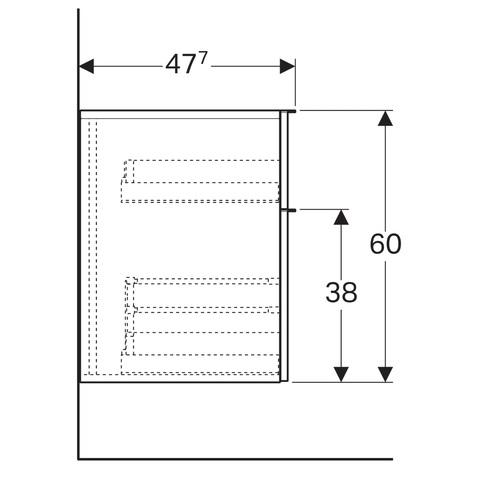 Geberit Icon halfhoge kast 2 laden 45x60cm eiken naturel eiken naturel