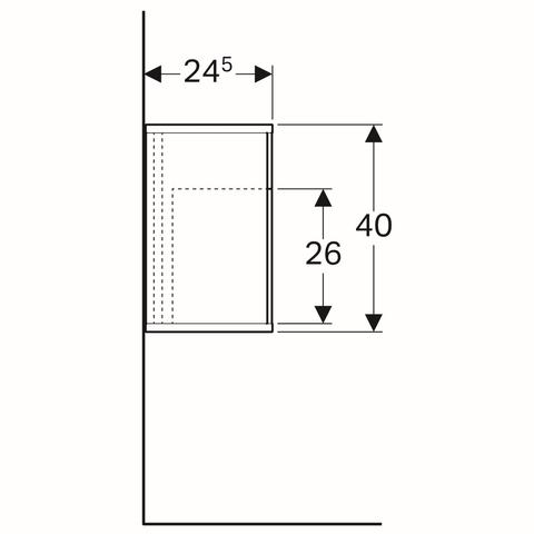 Geberit Icon zijelement met opbergbox 37x24,5x40cm rechts mat wit
