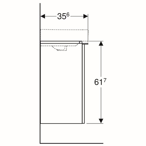 Geberit Smyle fonteinonderkast met deur 44cm deur glans wit glans wit