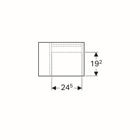 Geberit Icon zijelement met opbergbox 37x27,3x40cm links platina