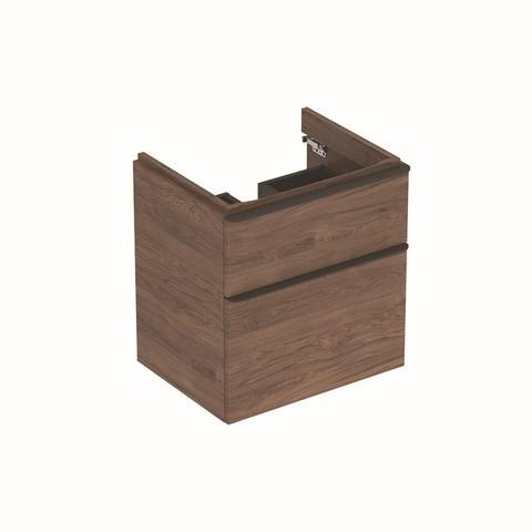 Geberit Smyle wastafelonderkast 2lade 58,5x62cm notelaar hickory notelaar hickory