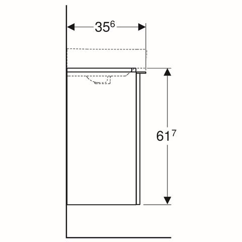 Geberit Smyle fonteinonderkast 1 deur 44cm deur notelaar hickory notelaar hickory
