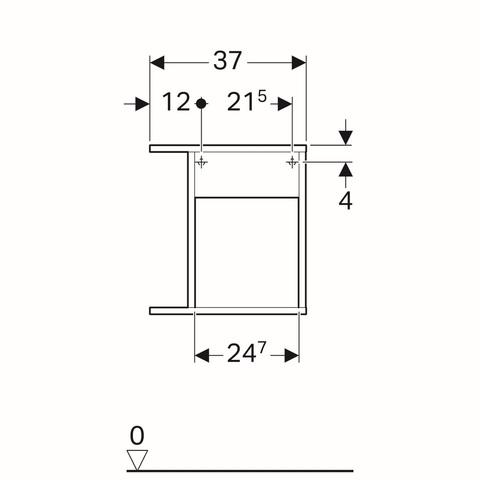 Geberit Icon zijelement met opbergbox 37x27,3x40cm links eiken naturel