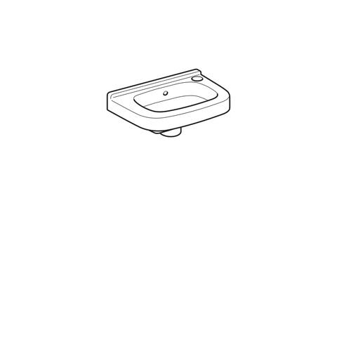Geberit 300 Basic fontein 36cm kraangat rechts met overloop wit