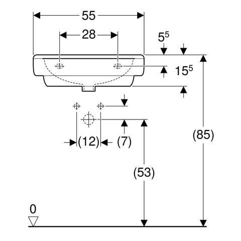 Geberit 300 Basic wastafel 55 x 45,5 x 18cm 1 kraangat zonder overloop wit