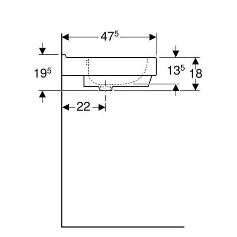 Geberit 300 Basic wastafel 60 x 47,5 x 18cm zonder kraangat met overloop wit