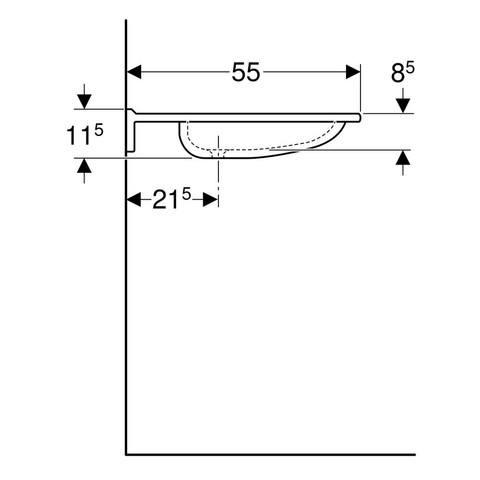 Geberit 300 Varicor wastafel 70 x 55 x 11,5cm 1 kraangat zonder overloop wit