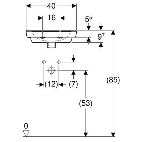 Geberit 300 Basic fontein 40cm kraangat midden zonder overloop wit
