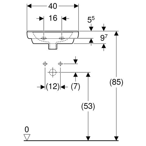 Geberit 300 Basic fontein 40cm kraangat midden met overloop wit