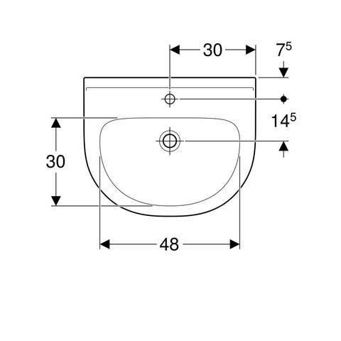 Geberit 300 Basic wastafel 60 x 48,5 x 18cm 1 kraangat zonder overloop wit