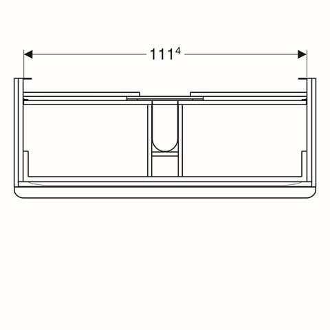 Geberit Smyle wastafelonderkast 2 la 118,4x62cm glas zandgrijs glans zandgrijs