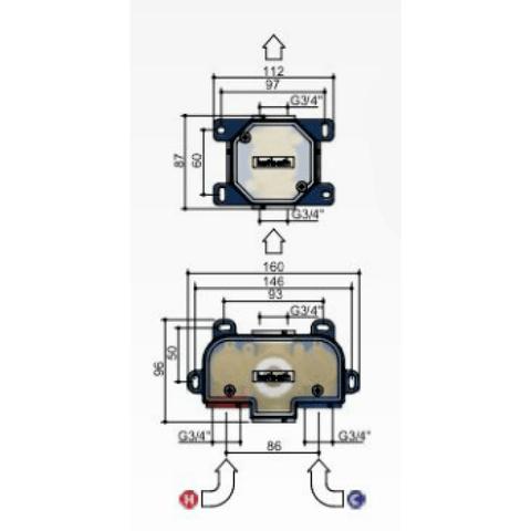 Hotbath Cobber IBS 20BL inbouw doucheset - mat zwart - met staafhanddouche - 30cm hoofddouche - met wandarm - wandsteun met uitlaat