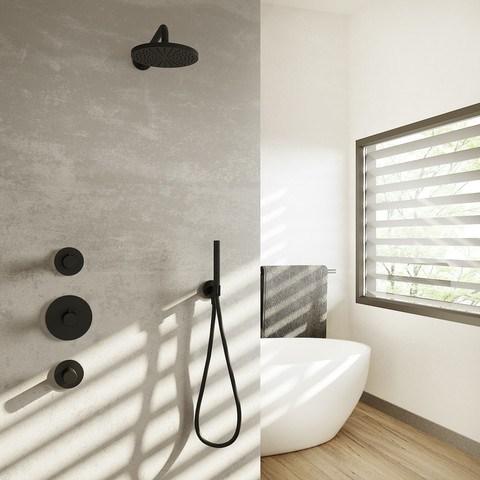 Hotbath Cobber IBS 20BL inbouw doucheset - mat zwart - met ronde handdouche - 30cm hoofddouche - met wandarm - glijstang met uitlaat