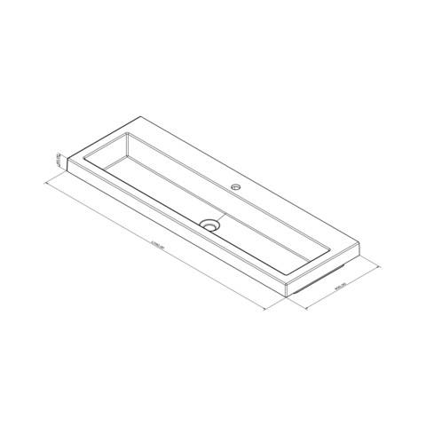 Blinq Sottile wastafel 120x40 wit met frame