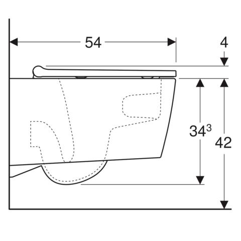 Geberit ONE pack wandcloset Turboflush met zitting - designafdekking wit
