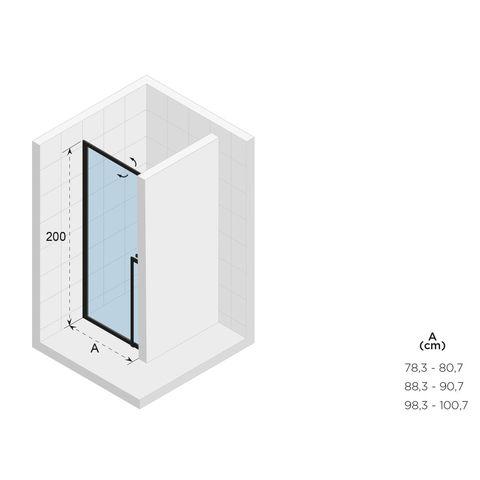 Riho Lucid GD101 nisdeur 100cm met mat wit profiel