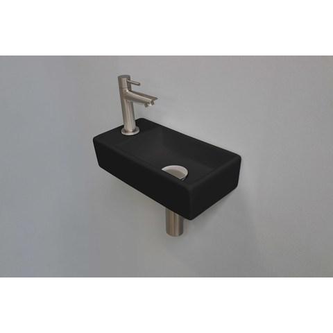 Ink Versus fonteinpack - links - porselein mat zwart - toebehoren brushed nickel