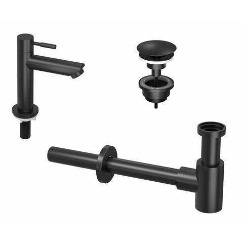 Ink combi set 1a fonteinkraan staand laag, always open plug en design sifon - mat zwart