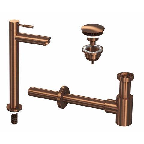 Ink combi set 2a fonteinkraan staand hoog, always open plug en design sifon - mat rose goud