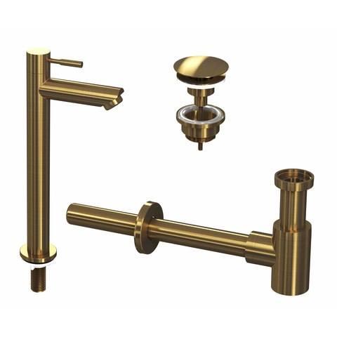 Ink combi set 2a fonteinkraan staand hoog, always open plug en design sifon - brushed mat goud