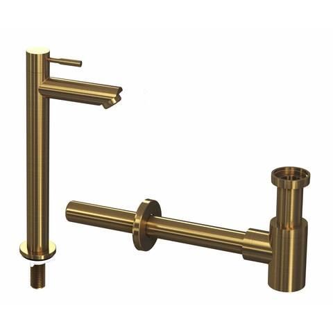 Ink combi set 2b fonteinkraan staand hoog en design sifon - brushed mat goud