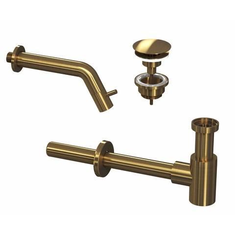 Ink combi set 3a fonteinkraan wandmodel, always open plug en design sifon - brushed mat goud