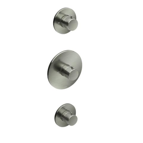 Hotbath Cobber IBS 20GN inbouw doucheset - geborsteld nikkel - met ronde handdouche - 30cm hoofddouche - met plafondbuis 30cm - glijstang met uitlaat