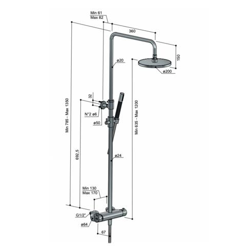 Hotbath Cobber SDS9BCP5 thermostatische stortdoucheset - staafhanddouche - 30cm hoofddouche - geborsteld koper PVD
