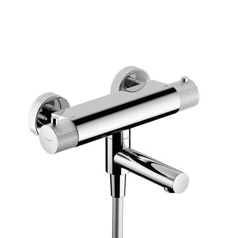 Hotbath Cobber X CX020 thermostatische badkraan geborsteld nikkel