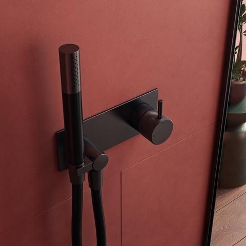 Hotbath Cobber X CX027EXT afbouwdeel - inbouw douchekraan met doucheslang en handdouche mat zwart