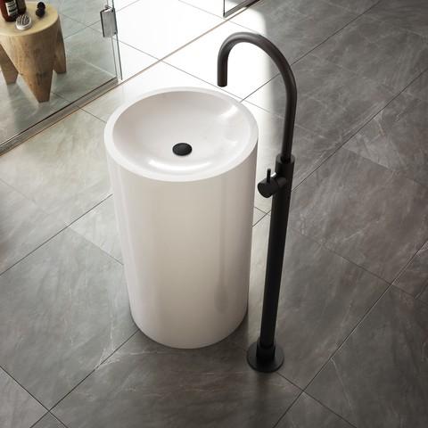 Hotbath Cobber X CX078W wastafelkraan vloermontage geborsteld nikkel