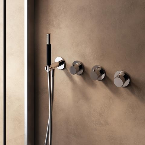 Hotbath Cobber X CX7071EXT afbouwdeel - inbouw douchethermostaat met 2 stopkranen zonder uitloop geborsteld messing PVD