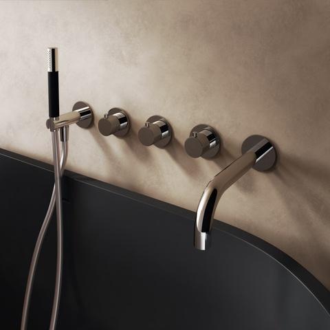 Hotbath Cobber X CX7072EXT afbouwdeel - inbouw douchethermostaat met 2 stopkranen met uitloop mat zwart