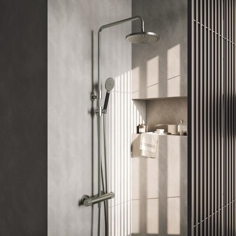 Hotbath Cobber X SDSX91 thermostatische stortdoucheset - 20cm hoofddouche - handdouche rond - geborsteld nikkel