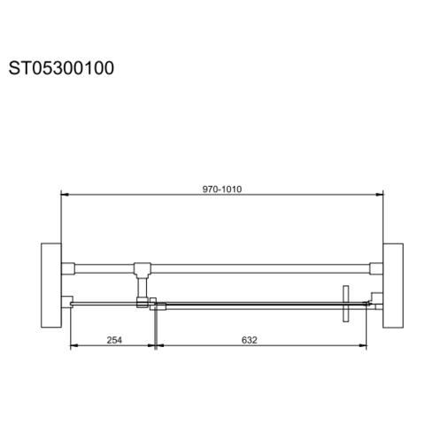 Bewonen Wilco ST05300 nisdeur met vast deel 970-1010 x 2000cm zwart