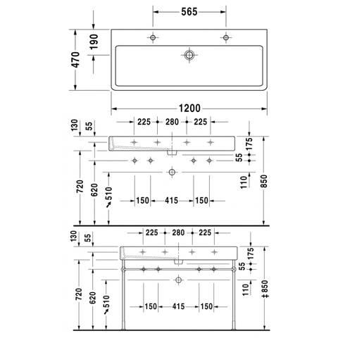 Duravit Vero wastafel 120cm - met 2 kraangaten - met overloop - onderkant geslepen - wit