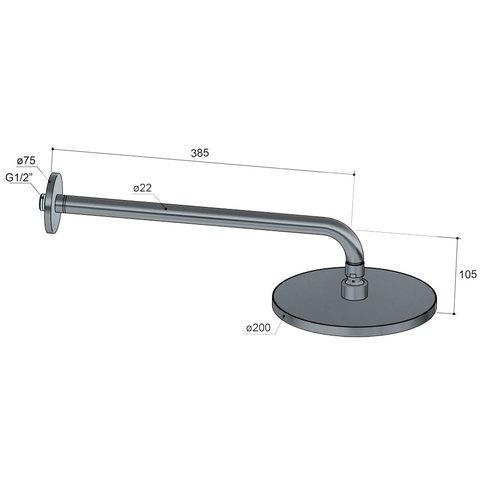 Hotbath Cobber M441W hoofddouche 20 cm met wandarm mat-zwart