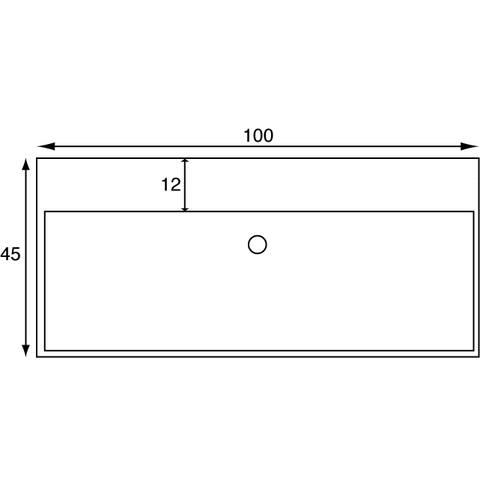 Blinq Tutto meubelwastafel 100x45 cm. z/kr.gat m/overloop wit