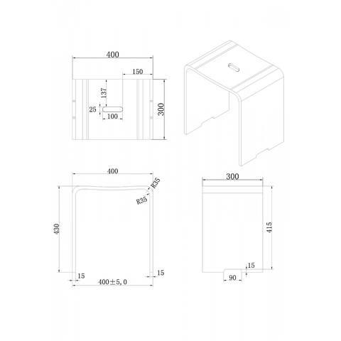 Luca Sanitair Vasca krukje 40x30x43h van solid surface mat wit