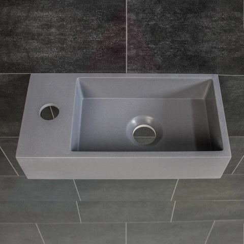 Ink Versus fontein 36cm quartz grijs - met kraangat - links
