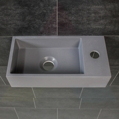 Ink Versus fontein 36cm quartz grijs - met kraangat - rechts