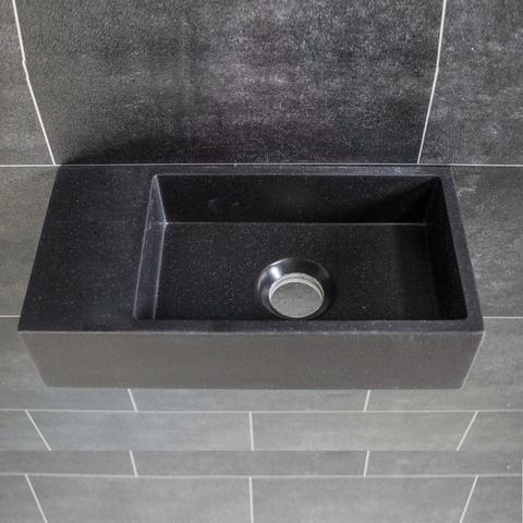 Ink Versus fontein 36cm quartz zwart - zonder kraangat - links